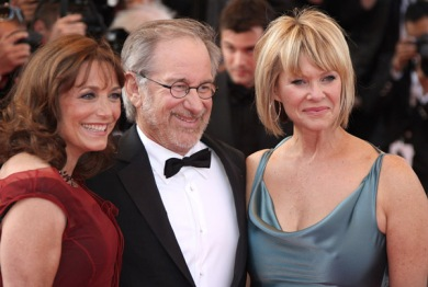 "(L-R) Actress Karen Allen, director Steven Spielberg, and Kate Capeshaw attend the ""Indiana Jones and the Kingdom of the Crystal Skull"" Premiere at the Palais des Festivals during the 61st Cannes International Film Festival on May 18, 2008 in Cannes, France."